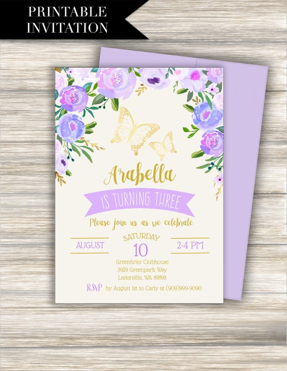 Purple Butterfly Birthday Invitation Download BUTTERFLY
