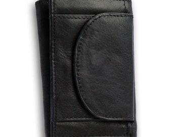 586e19fae29 Kleine portemonnee - Mini wallet - Zwart - Echt Leer - Safekeepers