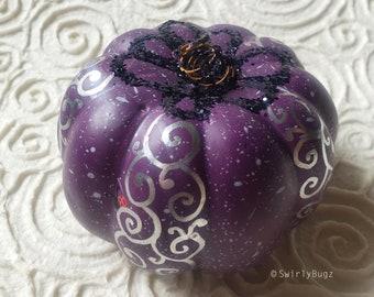 Eggplant Purple Bling Pumpkin, hand painted, silver swirls, ladybug