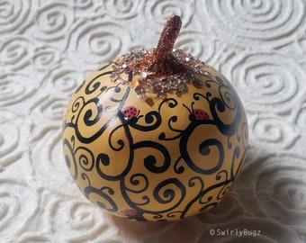 Smooth Orange Bling Pumpkin, hand painted, black swirls, ladybugs