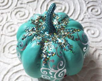 Teal Bling Pumpkin, hand painted, silver metallic swirls, ladybug
