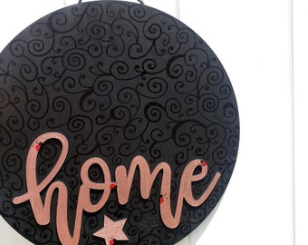 Home - Door/Wall Hanging, black, rose gold, ladybugs, stars, wood, circle