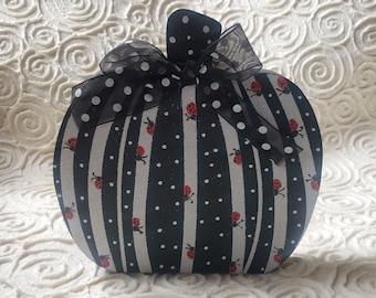 Black & White Wood Pumpkin, ladybugs, stripes