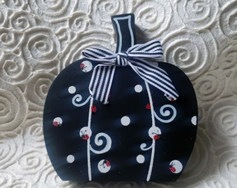 Black & White Wood Pumpkin, ladybugs, polka dots, swirls