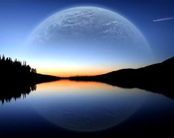 Cool Moon Landscape Poster Print in different sizes