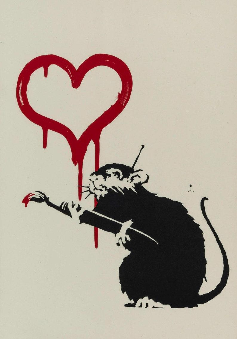 """/"""" I Love NY/"""" rat by Banksy Canvas Art Print"""