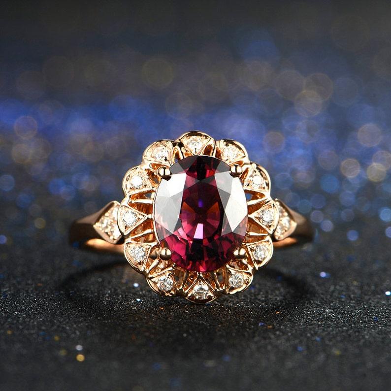 Sunflower Rubellite Red Tourmaline Diamond Ring in 18k Rose image 0