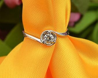 18k White Gold Diamond Engagement Ring Wedding Ring Birthday Anniversary Valentine's