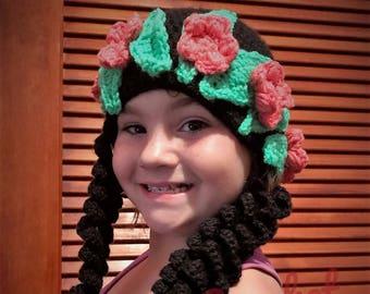 Crochet Moana inspired hat. Halloween Moana wig 7a6920a801d
