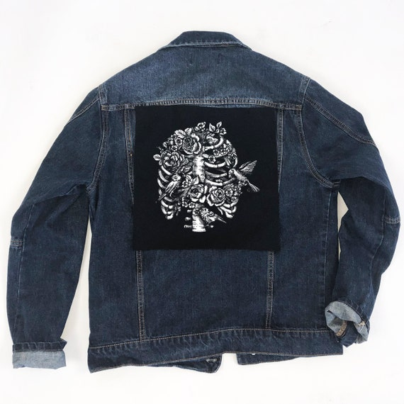 Florals Sew On Patches Punk Clothing Patch Punk Patch Back Patches Black Bird Cage  Back Patch