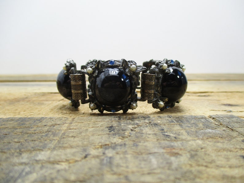 1940/'s Bracelet Large Cabochon Black /'Stones/' Complemented by Blue Rhinestones and Small Faux Pearls.