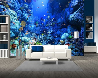 removable wall mural etsywall26 underwater world removable wall mural self adhesive large wallpaper