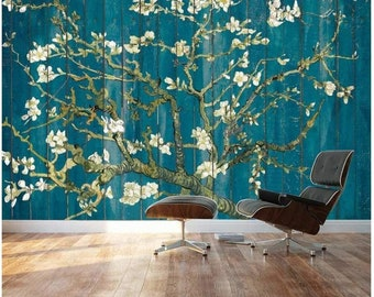 "Vibrant Teal Gradient /""Almond Blossom/"" by Vincent Van Gogh Wall Mural 66x96"