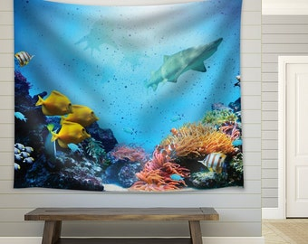 Sharks And Colorful Fish Swimming Through Coral Reefs