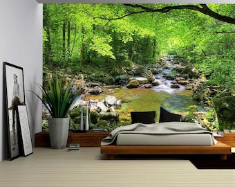 3D Beautiful Green Forest Wallpaper Wall Mural  Removable Self-adhesive Sticker
