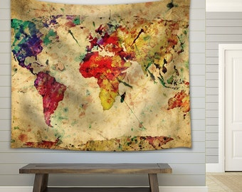 World map tapestry etsy a map of the world in water colors on a vintage background fabric tapestry 51x60 gumiabroncs Images