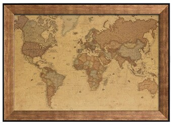Antique world map etsy antique world map in a sepia color scheme framed art prints 16x24 inches gumiabroncs Images