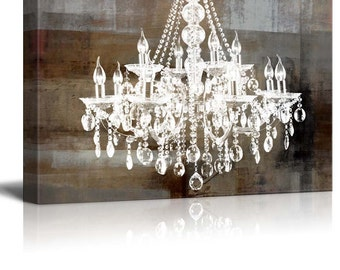 Chandelier canvas etsy canvas wll art crystal chandelier on abstract vintage background 32x48 aloadofball Images