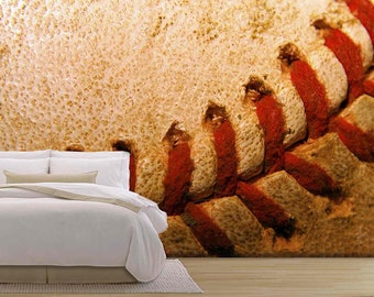 Wall26 Closeup Of An Old Used Baseball   Removable Wall Mural |  Self Adhesive Large Wallpaper
