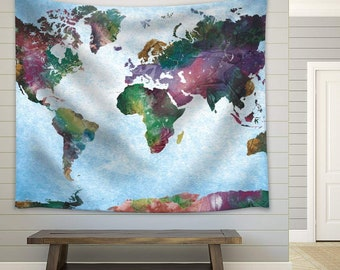 World map tapestry etsy wall26 colorful watercolor world map on a blue vignette background fabric tapestry home decor gumiabroncs Images