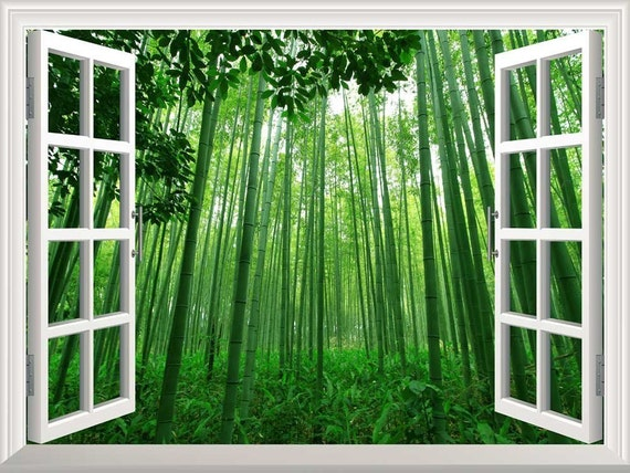 Window Looking Out Into a Green Forest and the Sun 36x48 inches Wall Mural