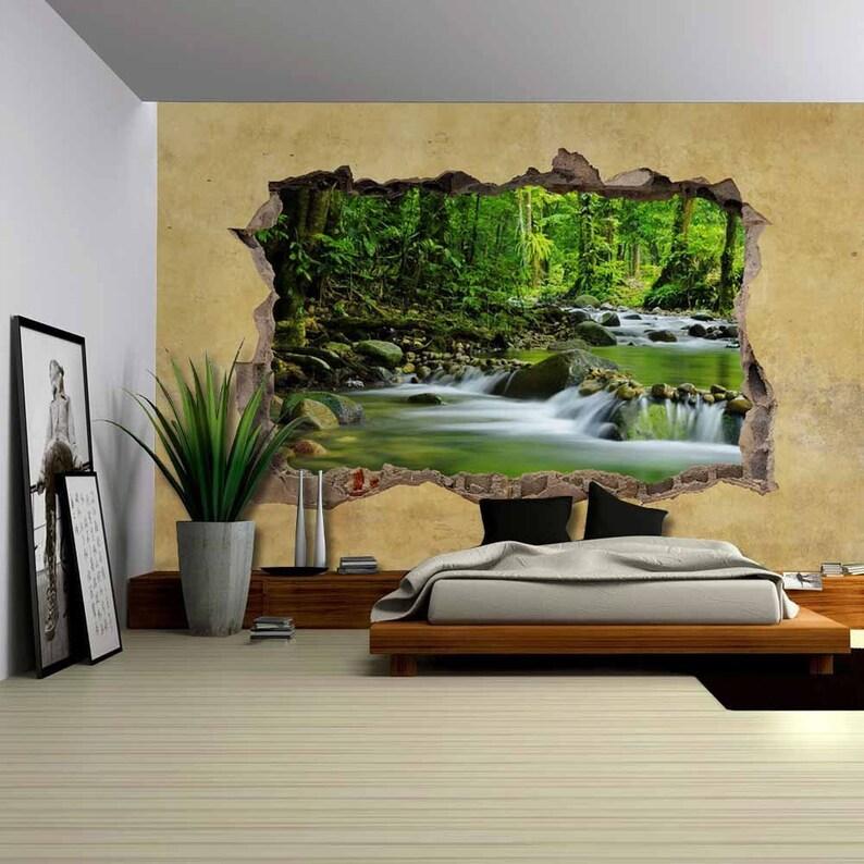 Cascading Spring in Rainforest Viewed through a Broken Wall Wall Mural-100x144