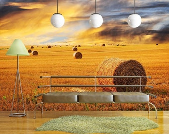 wall26 - Golden sunset over farm field with hay bales - Removable Wall Mural | Self-adhesive Large Wallpaper - 100x144 inches