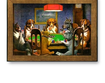"""Framed Prints- A Friend in Need (Dogs Playing Poker) by C.M. Coolidge- 16"""" x 24"""""""