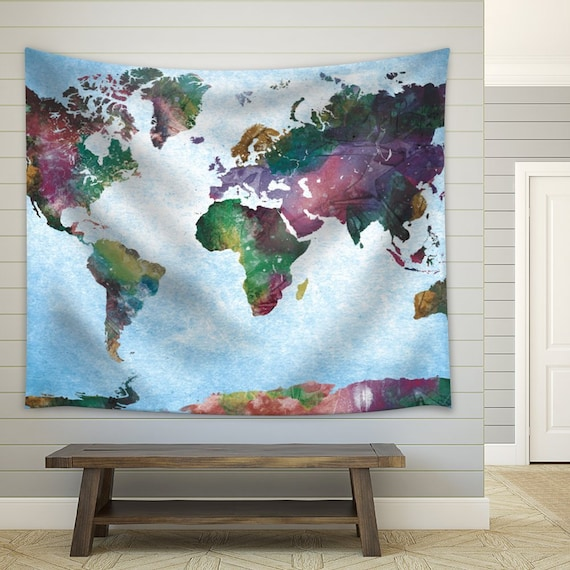 Fabric Tapestry Water Colored Map of the World on a Wooden Background 68x80