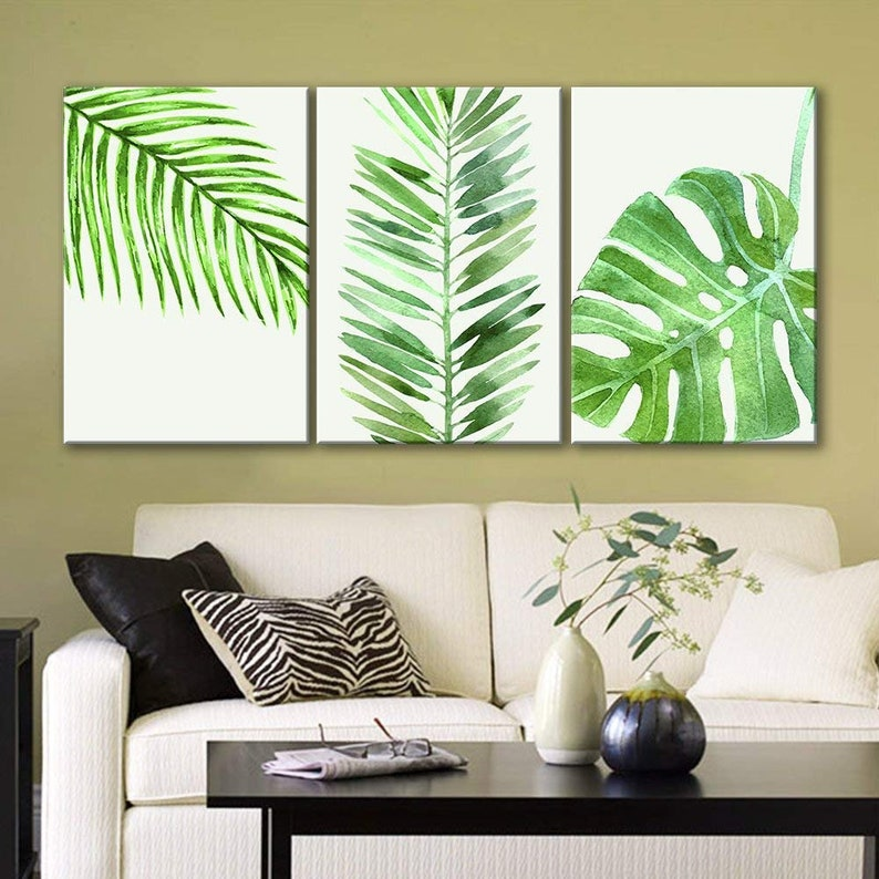 92460eca7b3 Wall26 3 Panel Canvas Wall Art Watercolor Style Green
