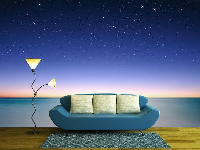 wall26 Self-adhesive Large Wallpaper Removable Wall Mural Sky and sea view at night