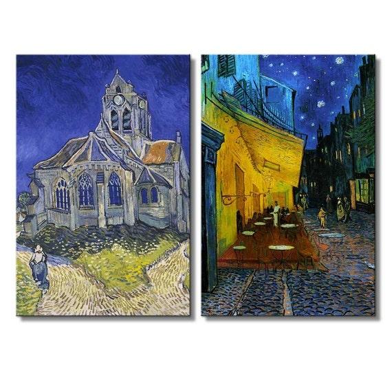 Terraza Del Café Por La Noche De Vincent Van Gogh Impresiones De La Lona 16 X 24 X 2 Paneles