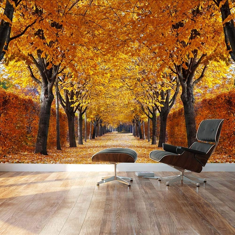 Home Decor Removable Sticker wall26 Yellow leaved trees line autumn lane Wall Mural Landscape