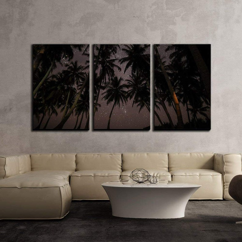 Palm Trees under Starry Sky Modern Home Decor Stretched and Framed Ready to Hang wall26-3 Piece Canvas Wall Art