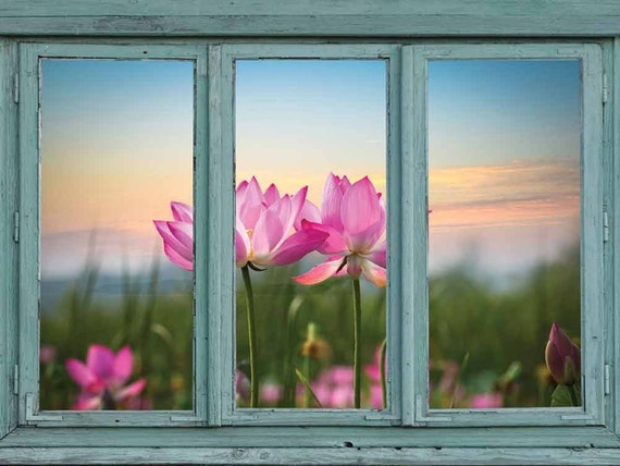 Vintage Teal Window Looking Out Into A Field Of Lotus Flowers Etsy