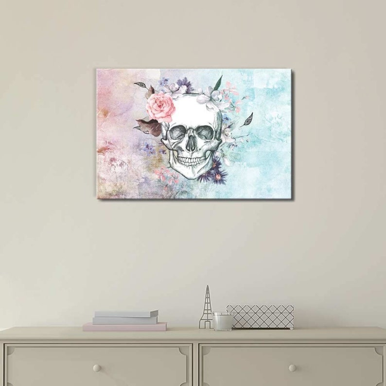 Canvas Art Home Decor wall26 Sketched Skull with a Flower Crown on a Vintage Styled Background