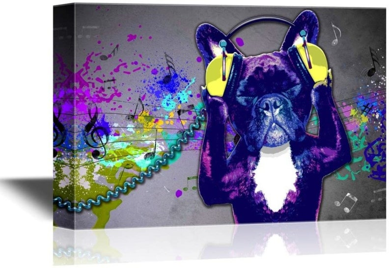 wall26  Canvas Wall Art  Dog Listening to Music Funny Animal image 0