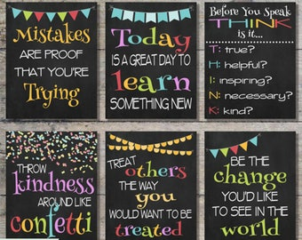 """60% OFF SALE - Classroom Chalkboard Prints Package, Classroom Printable Decor, Inspirational Prints, Instant Download - Set of 6 {8""""x10""""}"""