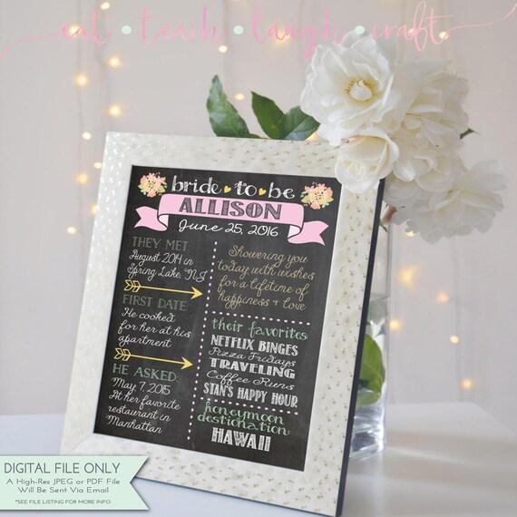 Bridal Shower Tableau Signe Poster Personnalise Douche Nuptiale Souvenir De Decor