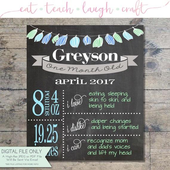 monthly baby milestone chalkboard print monthly printable etsy