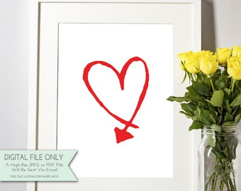 Heart with Arrow Print - Printable Art  - Valentine's Day Print {Instant Digital Download - 8x10}