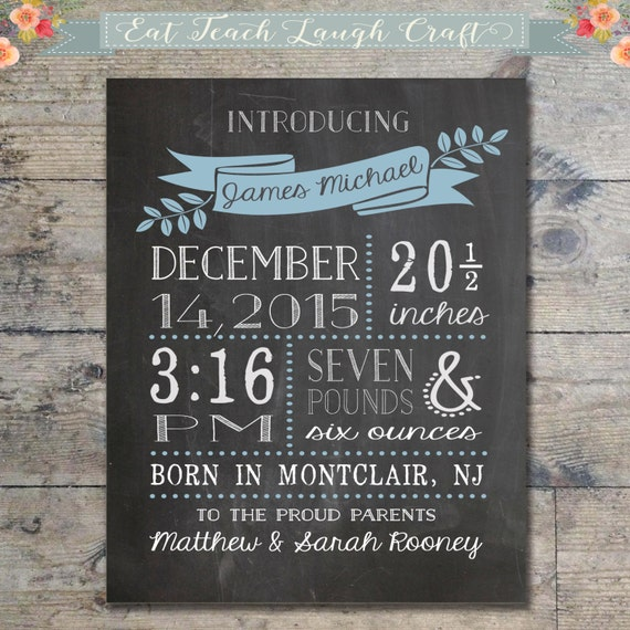 Chalkboard birth announcement new baby boy baby birth stats negle Image collections