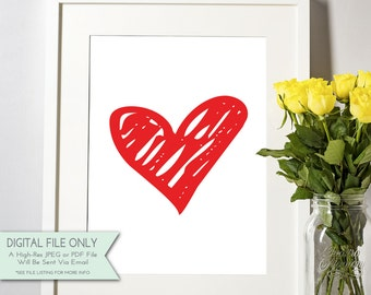 Red Heart Print - Printable Art  - Valentine's Day Print - Sketched Heart Printable {Instant Digital Download - 8x10}