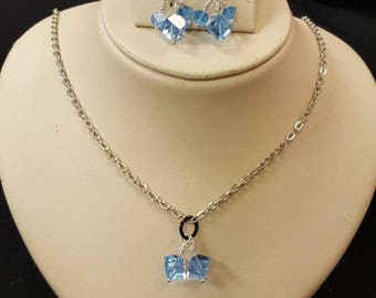 Sky blue swarovski crystals on chain with earrings