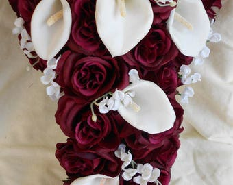 Burgundy bouquet etsy burgundy roses and white calla lilies 2 pieces bouquet grooms bout free bride cascading bouquet mightylinksfo