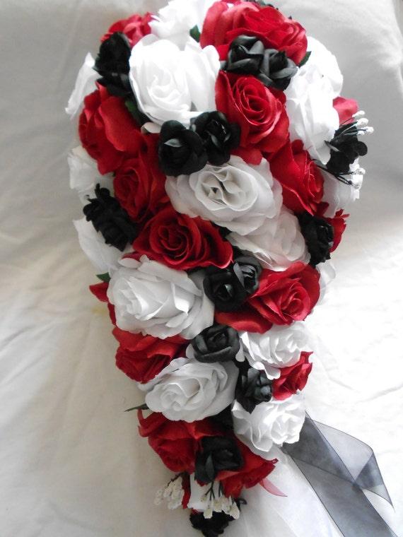 Silk cascade wedding bouquet red black and white set 19 etsy image 0 mightylinksfo