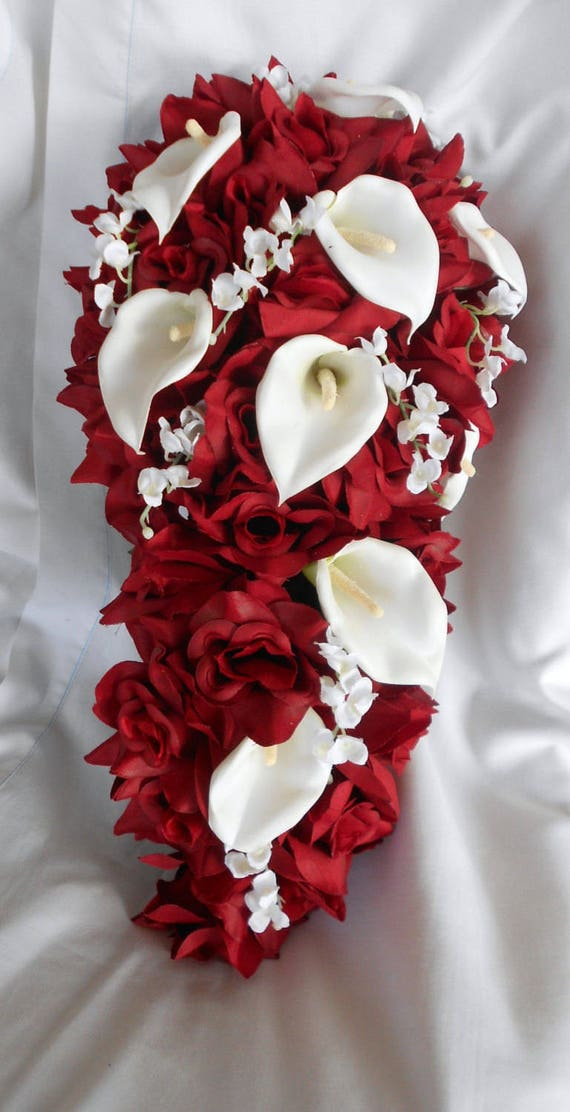 Wedding Bridal Cascade Bouquet Red Roses Calla Lilies And Etsy