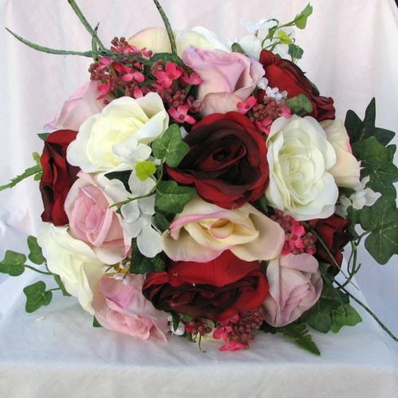 Red ivory and pink round bridal bouquet set
