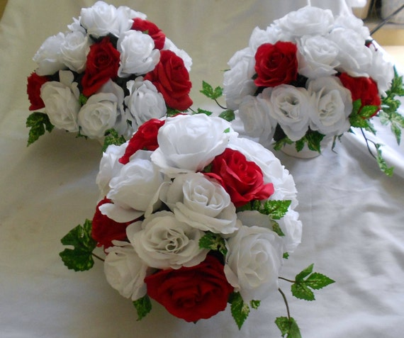 Wedding Table Centerpieces Arrangements Set Of 3 Red And Etsy