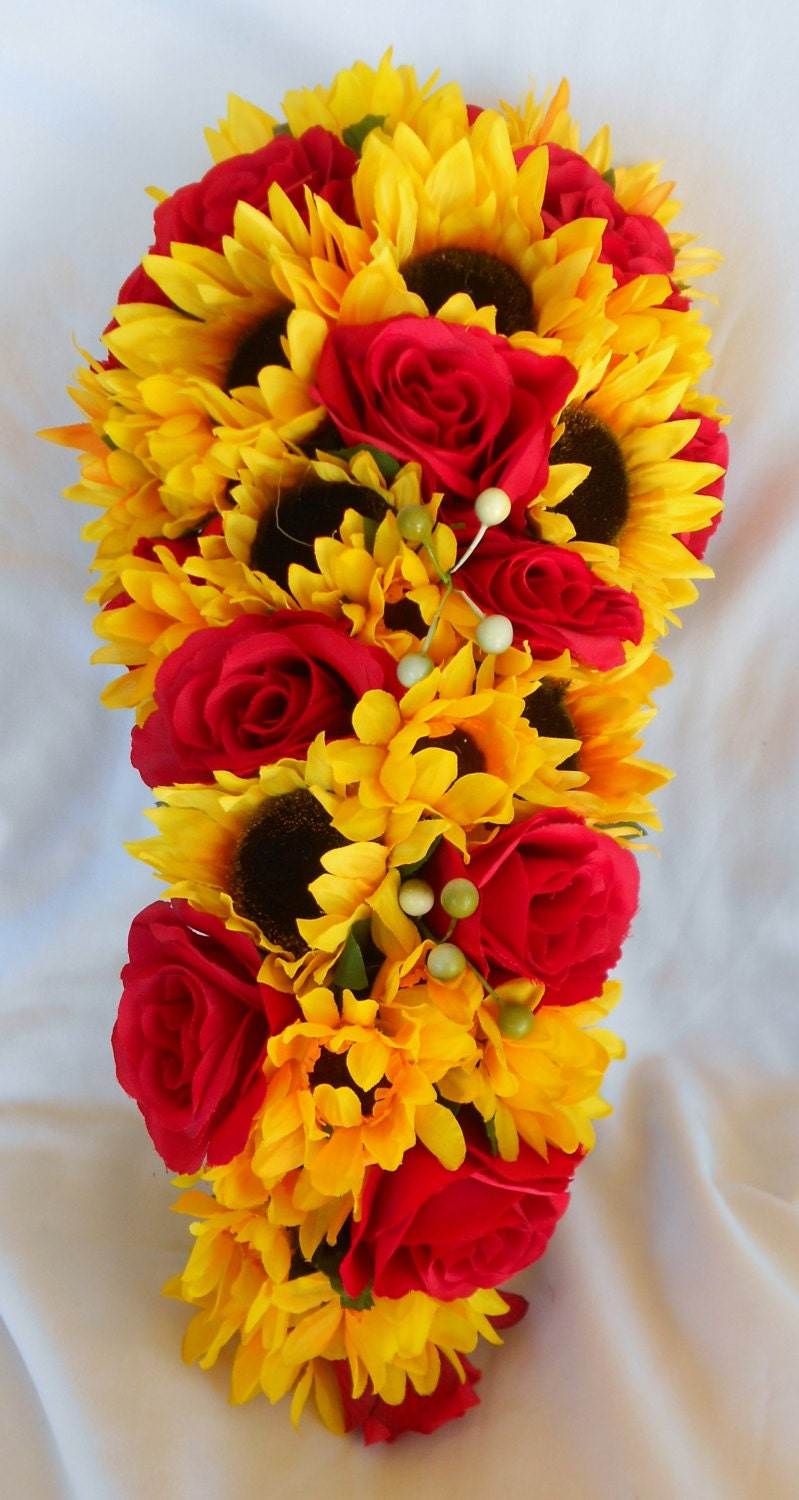 Fall Cascade Bride Bouquet Sunflowers And Roses 2 Pc Etsy